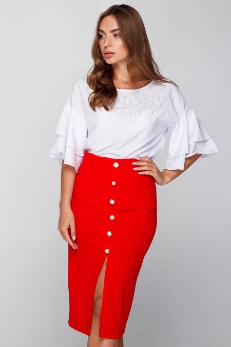Блуза 18-57 с жемчужной отделкой белая. Купить оптом и в розницу