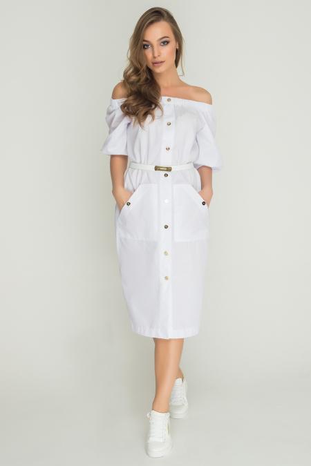 Платье 17-61 сафари белый