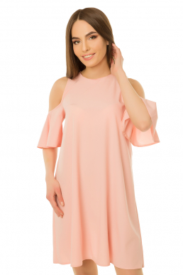 Платье рукав-волан пудра