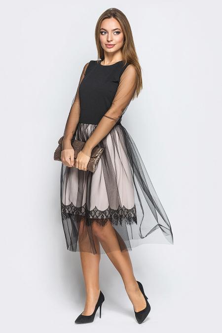 Платье 18-105 дайкири черное. Купить оптом и в розницу