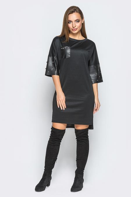 Платье 18-98 кожаный карман