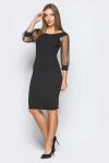 Платье 18-103 рукав-сетка черное