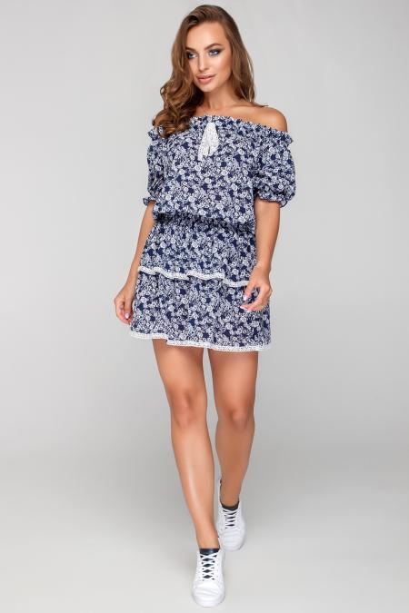 Платье 18-39 оборки с кружевом синее