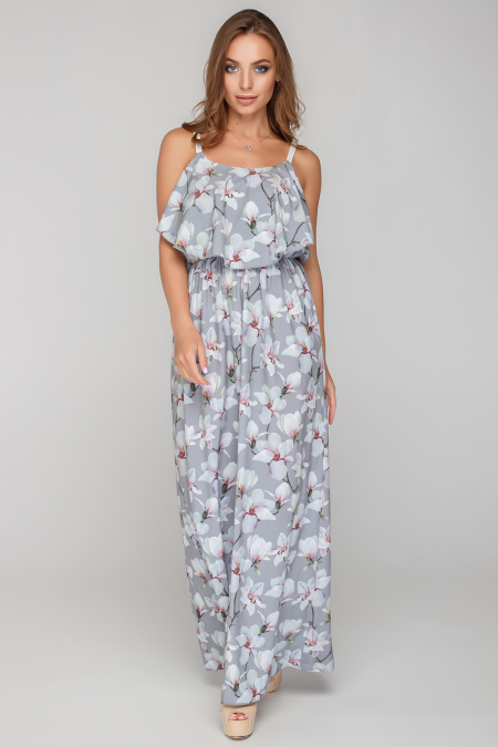 Платье 18-45-9 с ремешками в пол серый. Купить оптом и в розницу