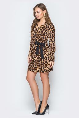Платье 19-32 с черным леопардовое