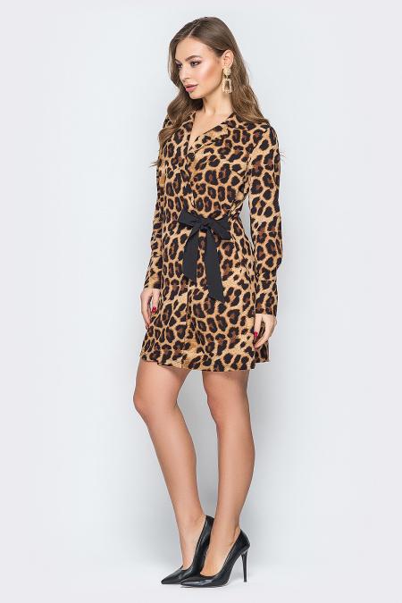 Платье 19-32 с черным леопардовое. Купить оптом и в розницу
