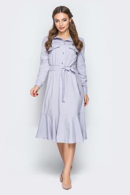 Платье 19-11 сафари оборка серое