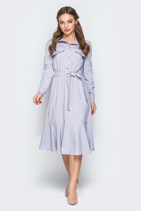 Платье 19-11 сафари оборка серое. Купить оптом и в розницу