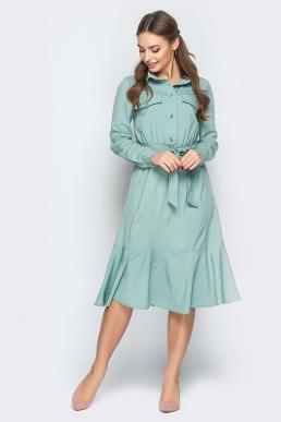 Платье 19-11 сафари оборка оливка