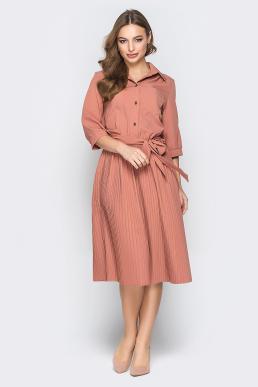 Платье 18-01 рубашка плиссе терракот