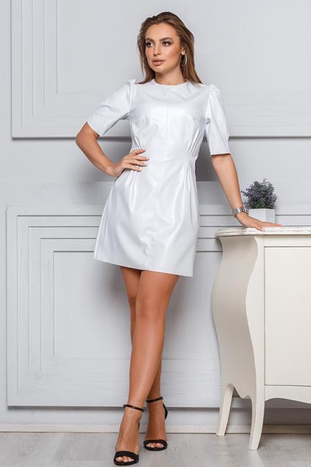 Платье 19-147 эко-кожа рукав фонарь белый. Купить оптом и в розницу