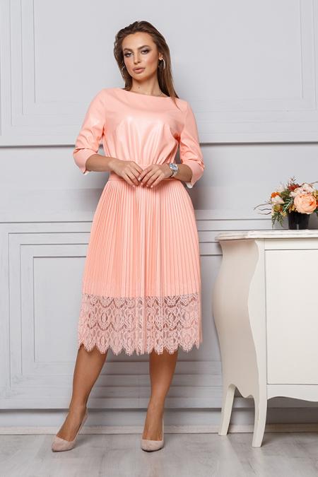 Платье 20-008 эко-кожа юбка плиссе ресница персик. Купить оптом и в розницу