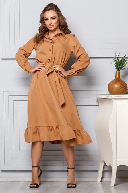 Платье 20-002 кемел с оборкой на юбке. Купить оптом и в розницу