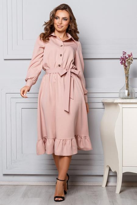 Платье 20-002 пудра с оборкой на юбке. Купить оптом и в розницу