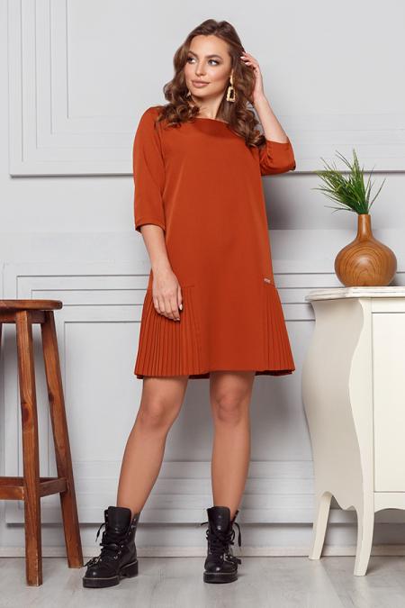 Платье 20-007 костюмка вставка плиссе рижий. Купить оптом и в розницу