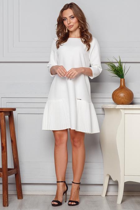 Платье 20-007 костюмка вставка плиссе молоко. Купить оптом и в розницу