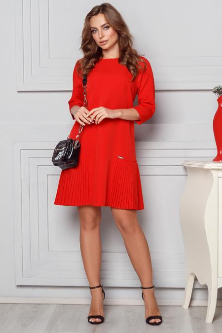 Платье 20-007 костюмка вставка плиссе красный. Купить оптом и в розницу