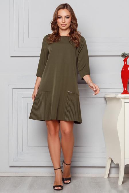 Платье 20-007 костюмка вставка плиссе хаки. Купить оптом и в розницу