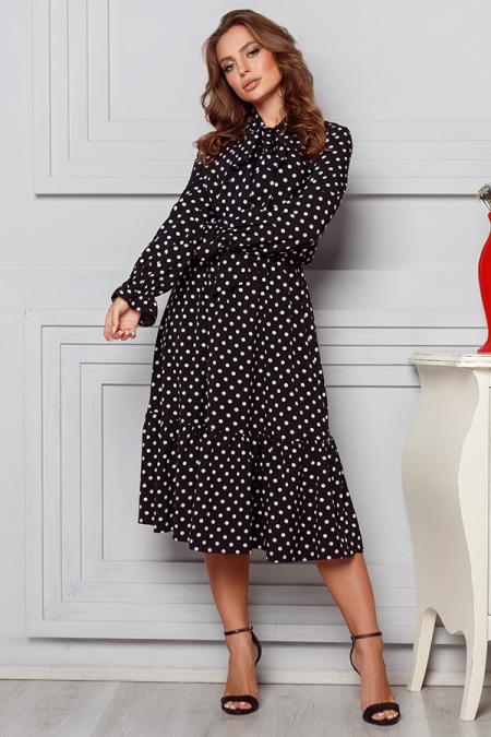 Платье 20-009 бант из софта горох черный. Купить оптом и в розницу