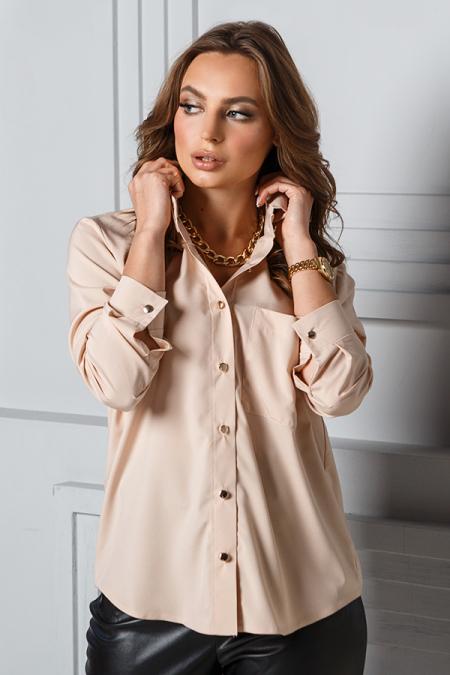 Блуза 20-012 карман золотые пуговицы светлый беж. Купить оптом и в розницу