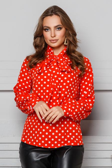 Блуза 20-010 бант с кокеткой горох красный. Купить оптом и в розницу