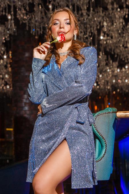 Платье 19-98/1 на запах люрикс- хамелион голубой. Купить оптом и в розницу