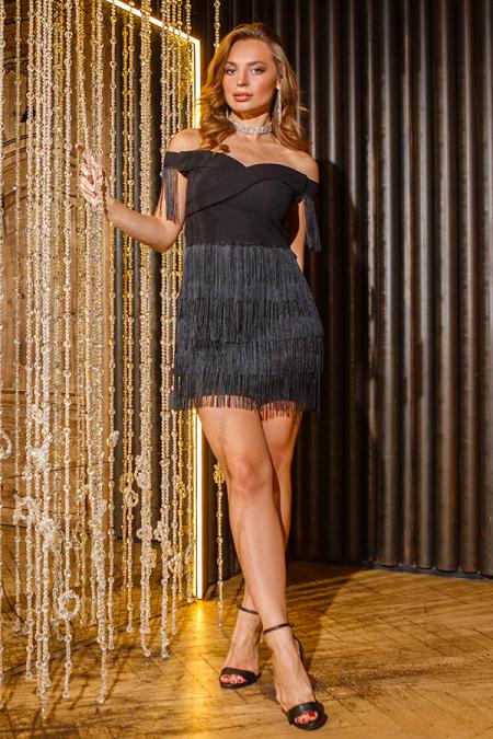 Платье 19-109 мини бахрома черное. Купить оптом и в розницу