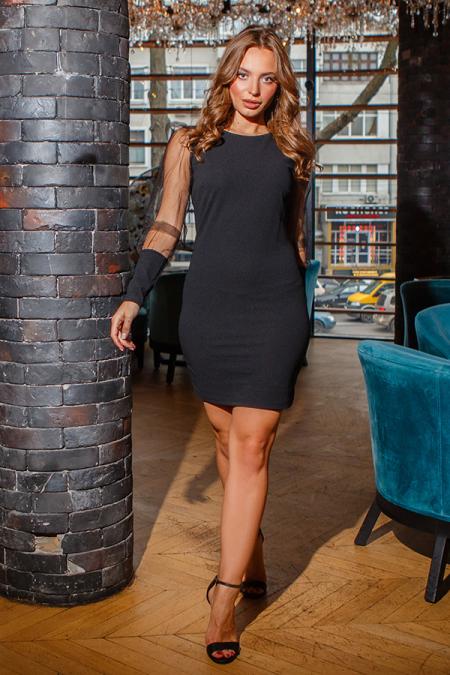 Платье 19-126 мини черное. Купить оптом и в розницу