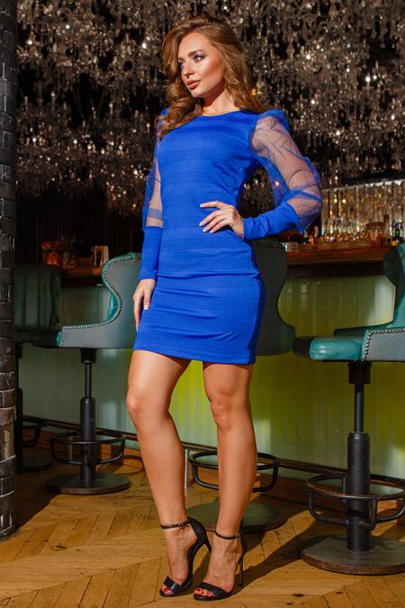 Платье 19-126 мини электрик. Купить оптом и в розницу