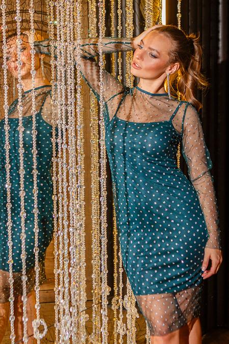 Платье 18-100 двойное с сеткой горох бутылка