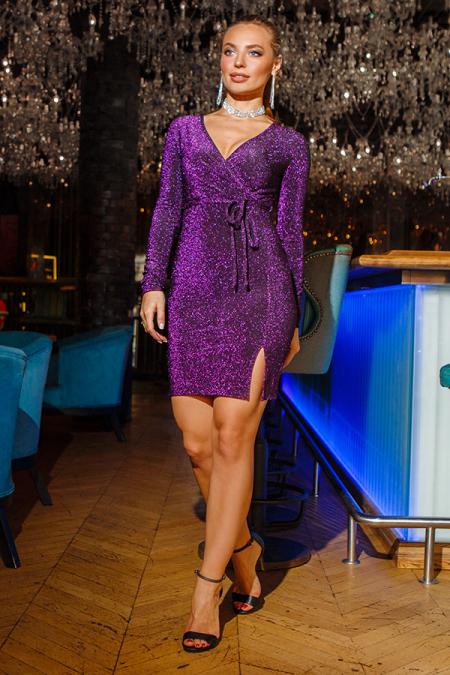 Платье 18-87 люрекс на запах фиолет. Купить оптом и в розницу
