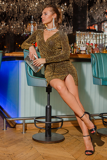 Платье 18-87 люрекс на запах золото. Купить оптом и в розницу