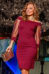 Платье 18-103 рукав-сетка марсала